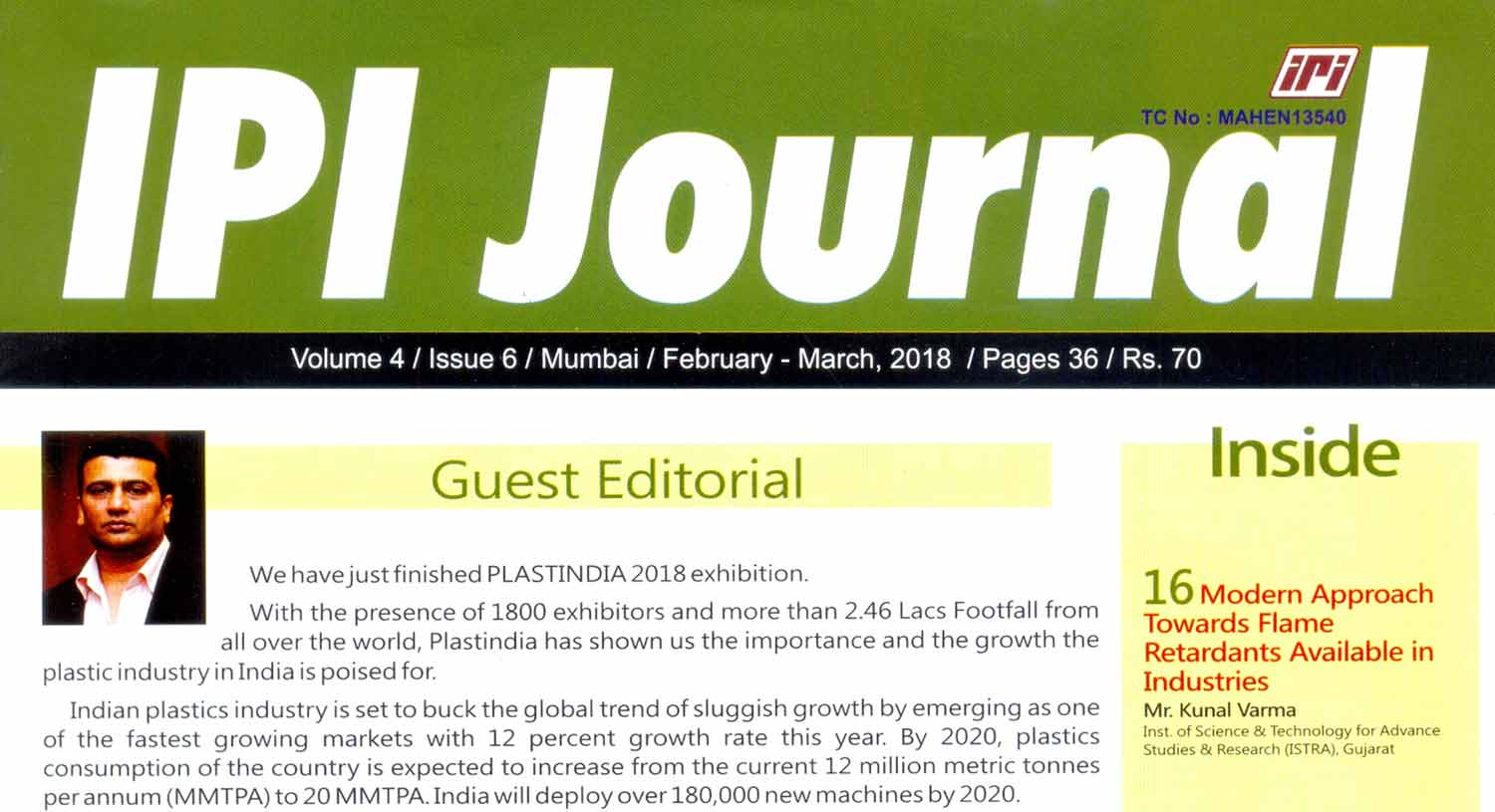 Our MD, Mr. Ramesh Parasuraman was invited as a Guest Editor for IPI Journal | February - March 2018 Issue | Allied Solutions India